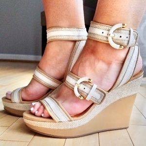 COACH Maralee platform wedges ankle strap canvas